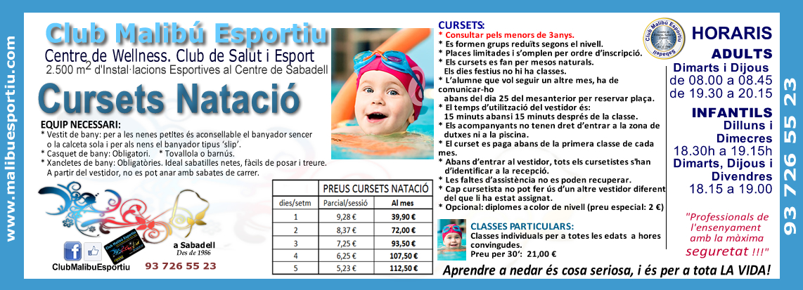 MALIBU-ESPORTIU-Classes Particulars-NATACIO